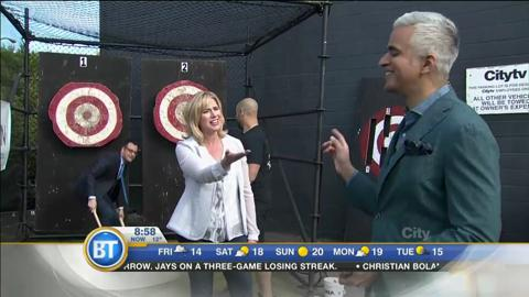 BT Turns 'Axe TV!' Watch As The Crew Battles It Out In This Axe Throwing Competition!