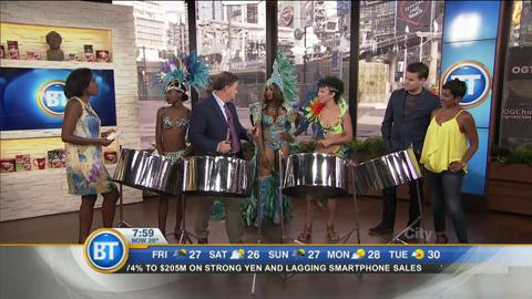 Playing the steel drums with Ontario Steelpan Association